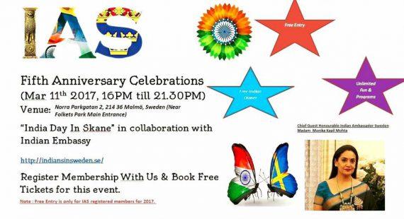 "IAS Grand 5th Anniversary Celebrations ""India Day In Skane"""